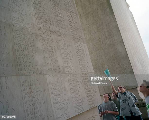Pupils from Woolmer Hill School, Haslemere, Surrey, at the WW1 Thiepval Memorial, the largest British war memorial in the world – there were more...