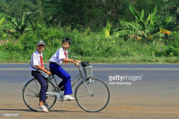 Pupils in school uniforms somewhere in south Vietnam.