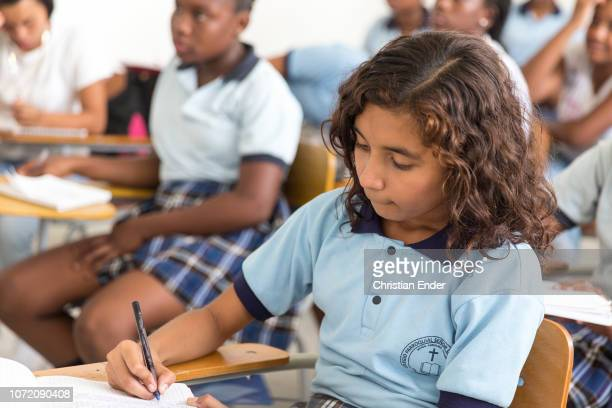Pupils of a catholic school during class in El Retiro in Cali in Colombia.