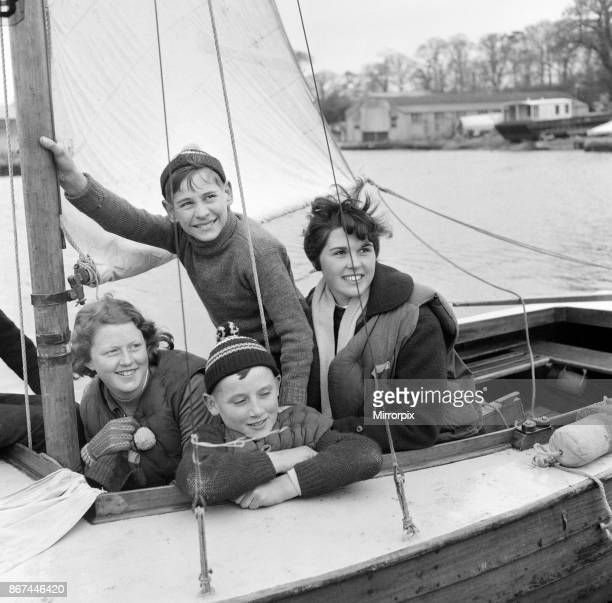 Pupils of Clarendon Secondary Modern School South Oxhey Watford Hertfordshire taking a course in yachting and seamanship on the Norfolk Broads during...