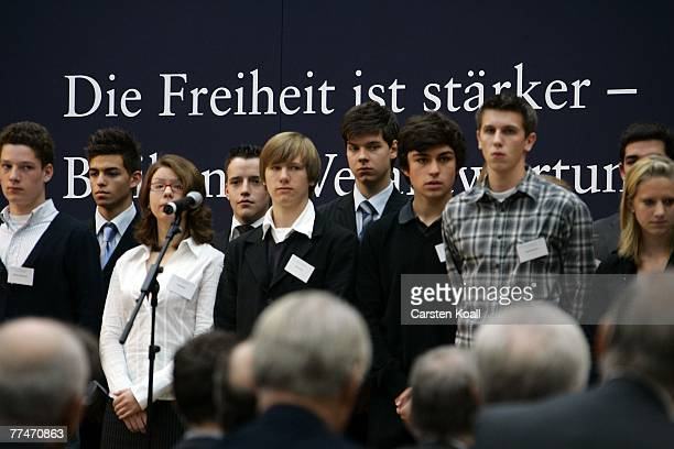 Pupils of different schools speak the names of all 34 victims of the RAF at the Hanns Martin Schleyer Foundation commemorative event on October 24...