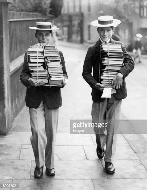 Pupils of Harrow at the beginning of the school year with their new school books England Photograph September 23rd 1930 [Zwei Schler von Harrow zu...