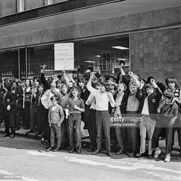 Pupils of Rutherford Comprehensive School in Marylebone, London, during a strike by schoolchildren organised by the Schools Action Union , UK, 3rd...