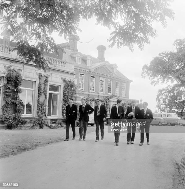 Pupils outside Aldenham House at the Haberdashers' Aske's school in Borehamwood Hertfordshire October 1961