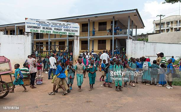 Pupils outside the Bastos Bilingual Primary School on October 29, 2012 in Yaounda, Cameroon.