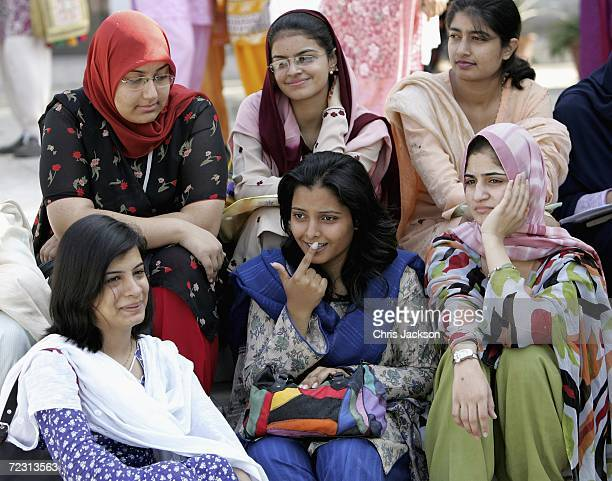 Pupils relax at Fatima Jinnah Womens University on the third day of the Royal Tour of Pakistan on October 31 2006 in Islamabad Pakistan Prince...
