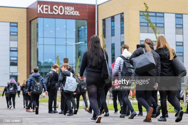 Pupils return to Kelso High School for the first time since the start of the coronavirus lockdown nearly five months ago on August 11, 2020 in Kelso,...