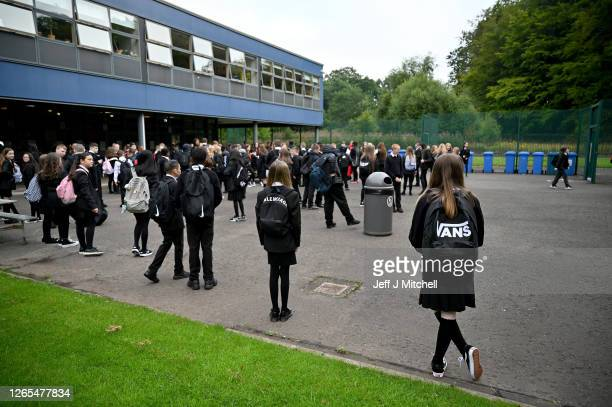 Pupils return to St Paul's High School for the first time since the start of the coronavirus lockdown nearly five months ago on August 12, 2020 in...