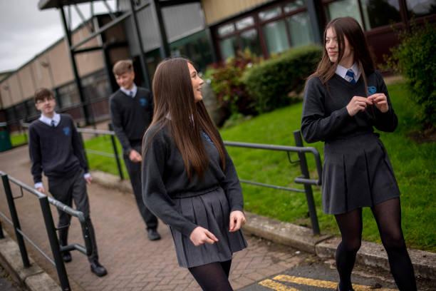 GBR: Pupils Practice Social Distancing At Longdendale High School