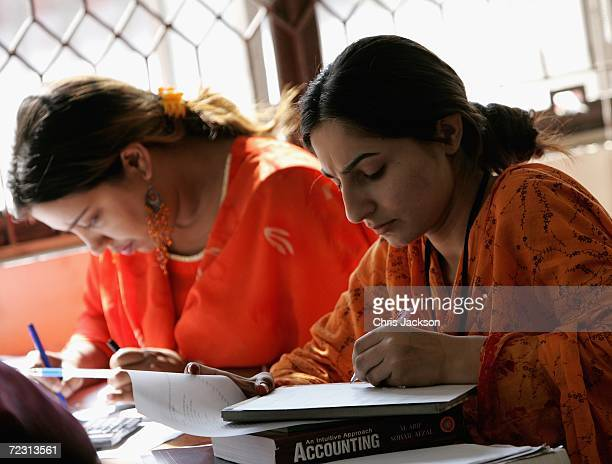 Pupils study in a public administration lesson at Fatima Jinnah Womens University on the third day of the Royal Tour of Pakistan on October 31 2006...