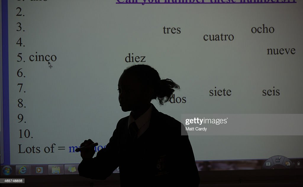 Pupils take part in a Spanish lesson at the Ridings Federation Winterbourne International Academy in Winterbourne near Bristol on February 26, 2015 in South Gloucestershire, England. Education, along with National Health Service and the economy are likely to be key election issues in the forthcoming general election in May.