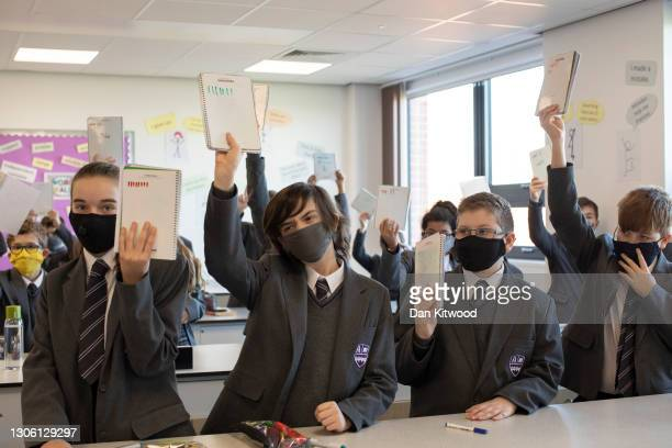 Pupils take part in lessons on their first day back from lockdown at Chertsey High School on March 09, 2021 in Chertsey, United Kingdom. Chertsey...