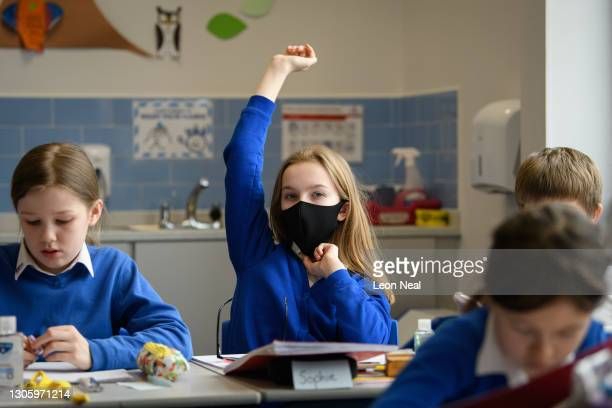 Pupils take part in their lessons as classes return to Gamlingay Village Primary on March 08, 2021 near Bedford, United Kingdom. The school, which is...