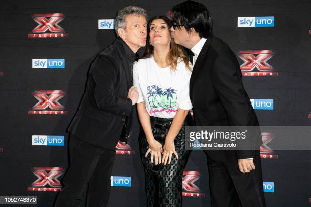 Pupo Daniela Collu and Elio attend X Factor 2018 photocall at Teatro Linear Ciak on October 22 2018 in Milan Italy