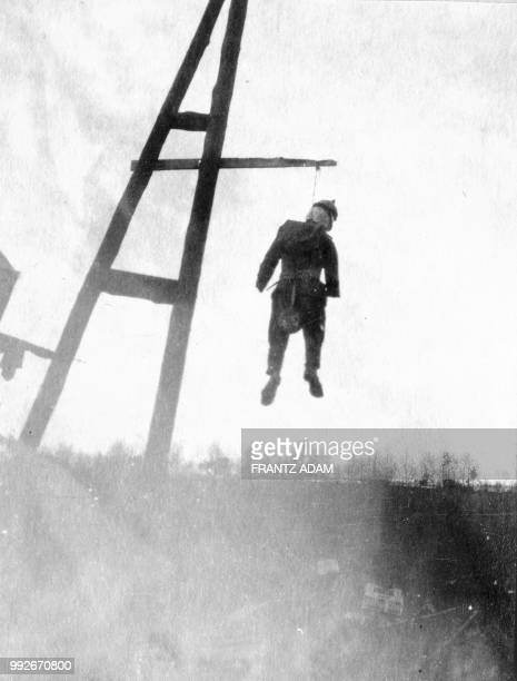 Puppet dressed in a German uniform hangs from a telegraph pole in Germany in October 1918 near the end of World War I. The Great War started in 1914...