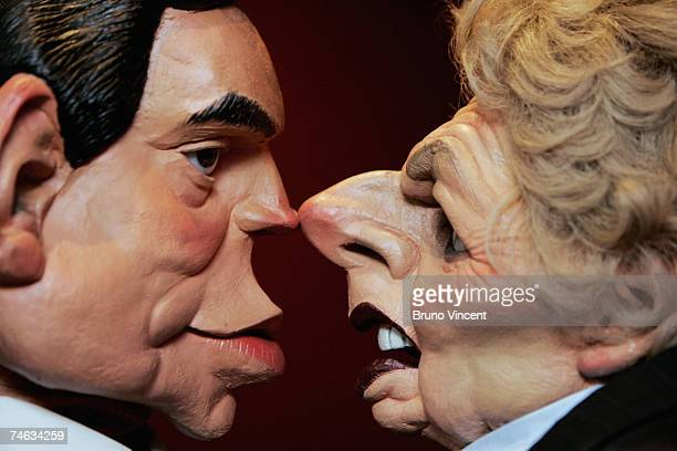 Puppet figures of the Chancellor of the Exchequor Gordon Brown and former Conservative Prime Minister Margaret Thatcher for the satirical Television...