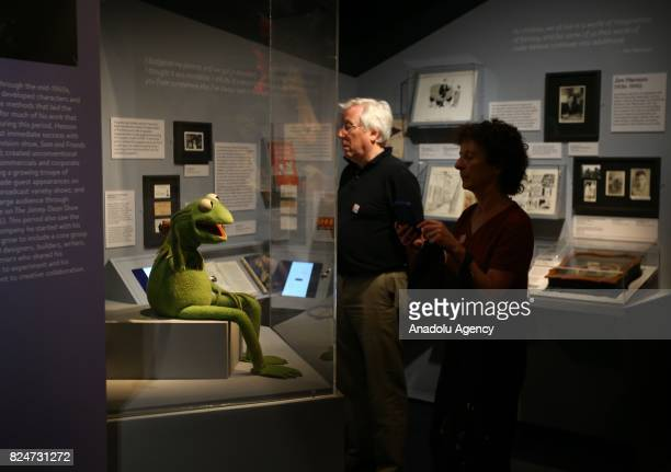 Puppet 'Kermit the Frog' character of the famous TV serie Sesame Street is displayed during an exhibition in memory of American puppeteer and movie...