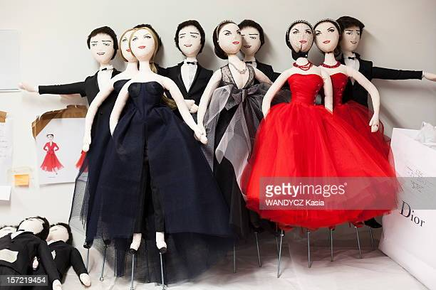 Puppet made by JeanClaude Dehix dressed in Dior in the Printemps dept store display in Paris the puppets from left to right the 'girls' together in...