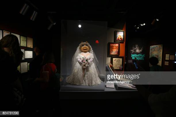 Puppet 'Miss Piggy' character of the famous TV serie Sesame Street is displayed during an exhibition in memory of American puppeteer and movie...