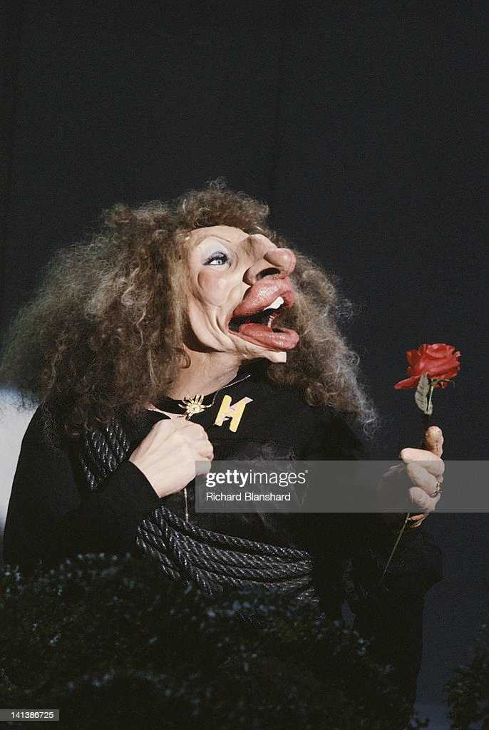 A puppet of American actress and singer Barbra Streisand from the British satirical puppet show 'Spitting Image', circa 1986.