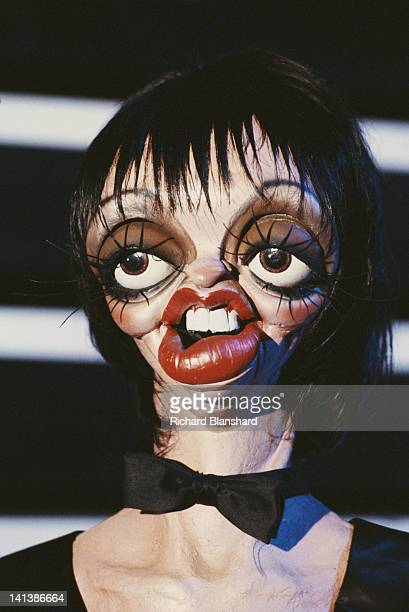 A puppet of American actress and singer Liza Minnelli from the British satirical puppet show 'Spitting Image' circa 1986