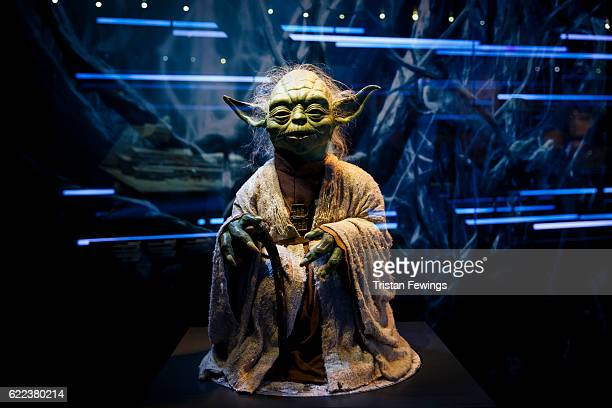 A puppet of iconic character Yoda is displayed at the Star Wars Identities exhibition at The O2 Arena on November 11 2016 in London England Star Wars...