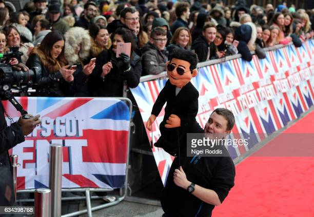 A puppet of Judge Simon Cowell arrives for the Britain's Got Talent Manchester auditions on February 9 2017 in Manchester United Kingdom