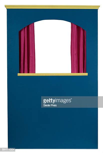 puppet theater on white background - puppet show stock photos and pictures