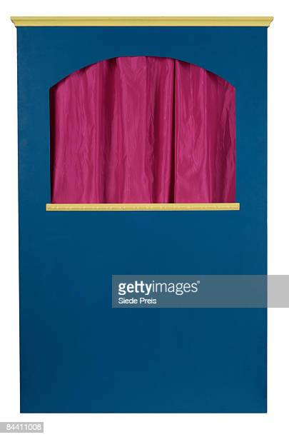 puppet theatre on white background - puppet show stock photos and pictures