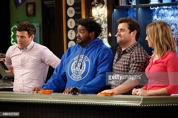 UNDATEABLE A Puppet Walks Into a Bar Episode 306A Pictured Brent Morin as Justin Ron Funches as Shelly David Fynn as Brett Bridgit Mendler as Candace
