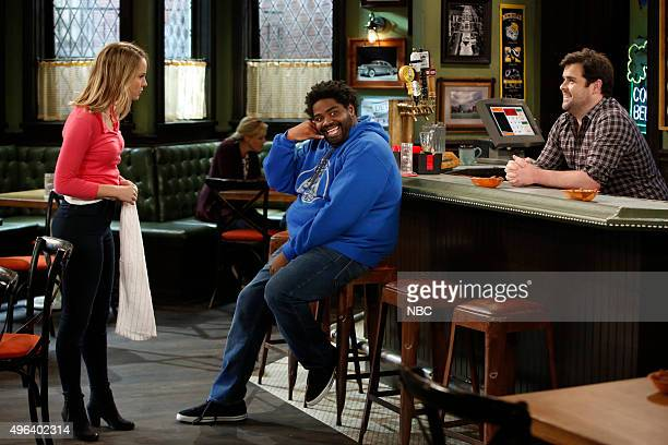 UNDATEABLE A Puppet Walks Into a Bar Episode 306A Pictured Bridgit Mendler as Candace Ron Funches as Shelly David Fynn as Brent
