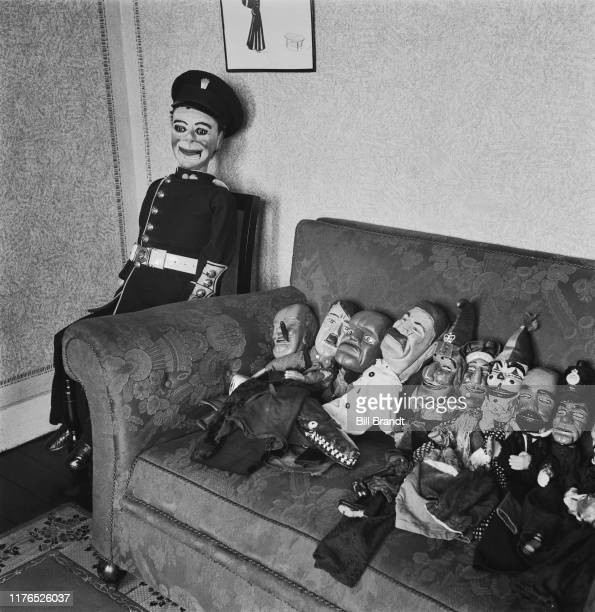 Puppet Winston Churchill Adolph Hitler Benito Mussolini and Joseph Stalin in puppeteer Tom Haffenden's topical and satirical wartime Punch and Judy...