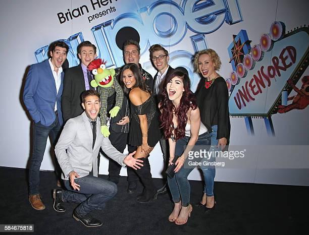 Puppeteer Grant Baciocco poses with entertainers Skye Scott LJ Benet Nick Petris Joanna Jones Payton Lewis Briana Cuoco and Tiffany O'Connor of BAZ...
