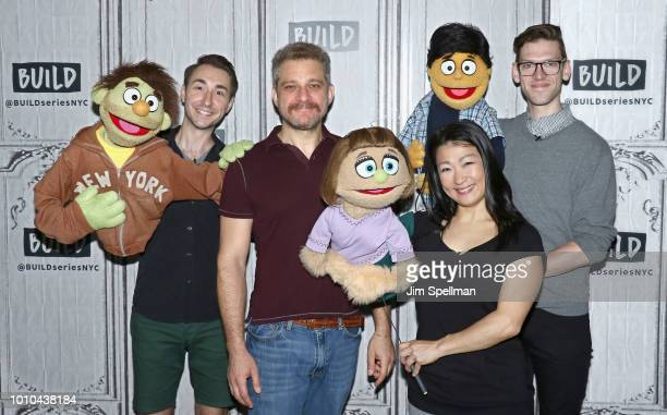 Puppeteer Jason Jacoby composer Jeff Marx puppeteers Katie Boren and Ben Durocher attend the Build Series to discuss Avenue Q at Build Studio on...