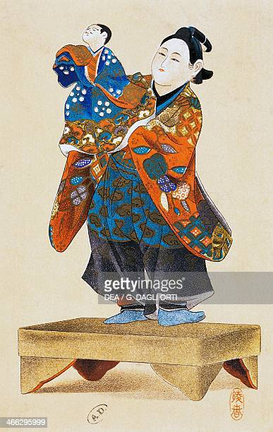 Puppeteer with puppet puppet theater ukiyoe art print reproduction from a woodcut Japanese civilisation Edo period 17th19th century