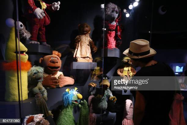 Puppets 'characters of the famous TV serie Sesame Street are displayed during an exhibition in memory of American puppeteer and movie director Jim...