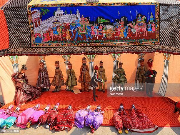 Puppets display during the Kite Festival on the occasion of Makar Sankranti at Jal Mahal in Jaipur Rajasthan India 14 Jan2017Makar Sankranti marks...