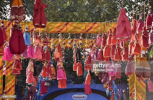 Puppets displayed at Jaipur Literary Festival 2016 at Diggi Palace on January 24 2016 in Jaipur India Ninth edition of ZEE ZEE ZEE Jaipur Literature...