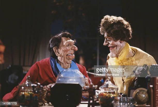Puppets of US President Ronald Reagan and his wife Nancy from the British satirical puppet show 'Spitting Image' circa 1986