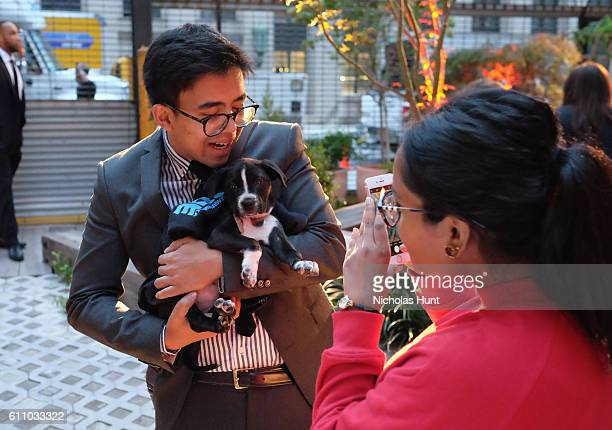 Puppy and a guest attend the celebration of the launch of Rachael Ray's Nutrish DISH with a Puppy Party on September 28, 2016 in New York City.