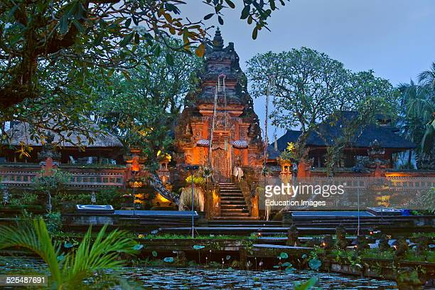 Pura Taman Saraswati Known As The Ubud Water Palace At Dusk Ubud Bali Indonesia