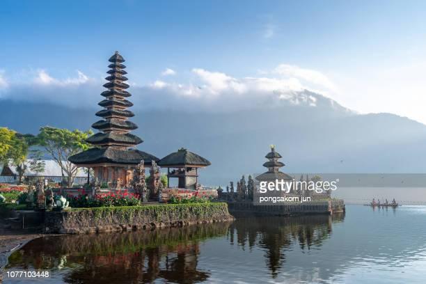 pura ulun danu bratan hindu temple in bali - lake bratan area stock pictures, royalty-free photos & images