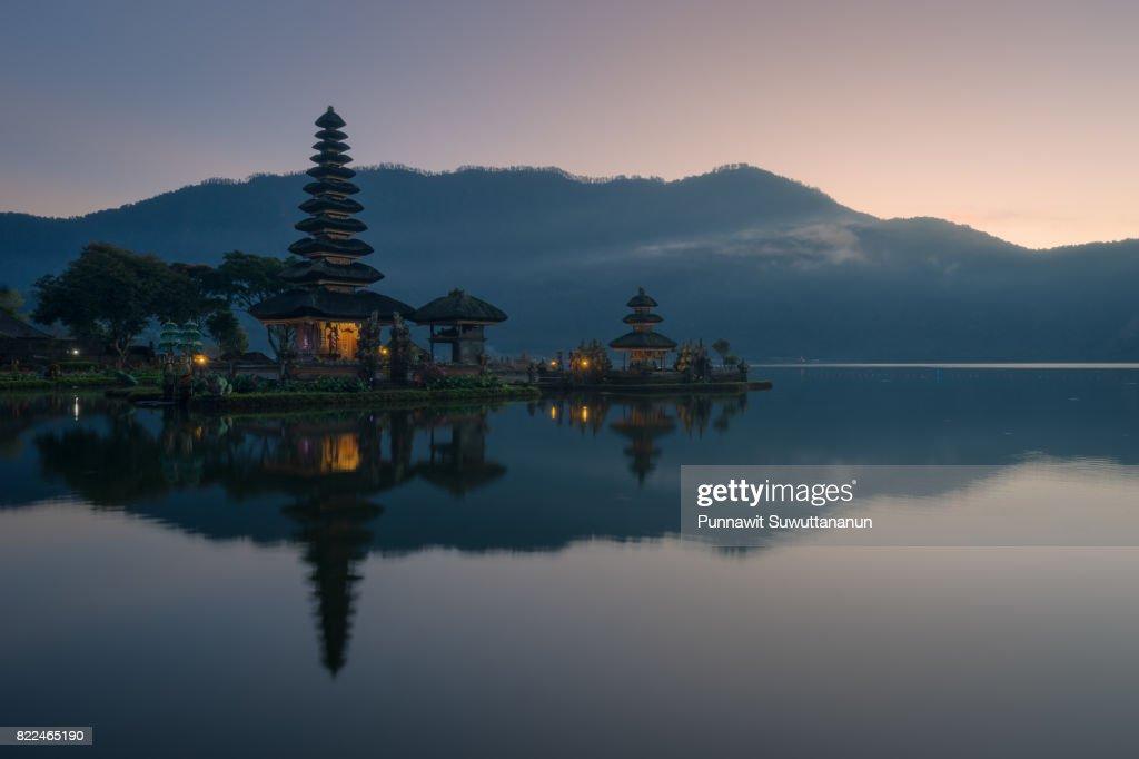 Pura Ulun Danu Bratan temple, landmark of Bali island in a beautiful morning, Bali island, Indonesia : Stock Photo