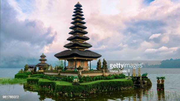 pura ulun danu bratan temple on lake, bedugul, bali, indonesia - hinduism stock pictures, royalty-free photos & images
