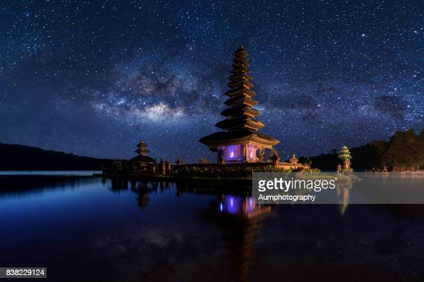 Pura Ulun Danu Bratan with milky way backgrounds , Bali, Indonesia.