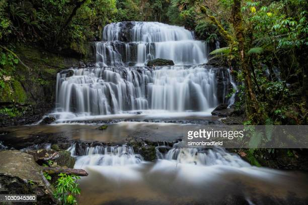 purakaunui waterfalls - southland new zealand stock pictures, royalty-free photos & images
