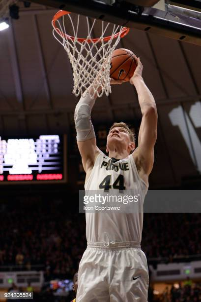 Purdue Boilermakers center Isaac Haas dunks the ball during the Big Ten Conference college basketball game between the Minnesota Golden Gophers and...