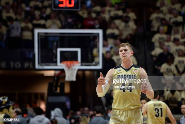 Purdue Boilermakers center Isaac Haas gives a thumbs up to a referee during a timeout in the Big Ten conference college basketball game between the...