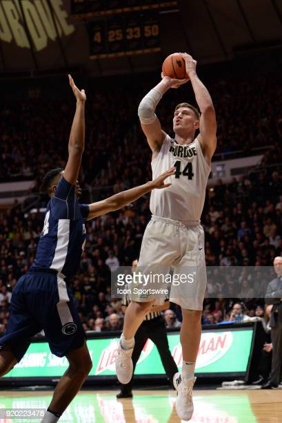 Purdue Boilermakers center Isaac Haas shoots a jump shot during the Big Ten Conference college basketball game between the Penn State Nittany Lions...