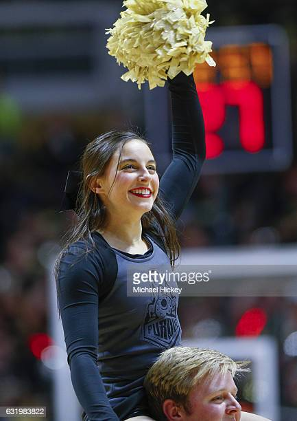 Purdue Boilermakers cheerleader is seen during the game against the Wisconsin Badgers at Mackey Arena on January 8 2017 in West Lafayette Indiana